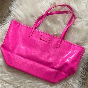 Hot Pink Patent Leather Kate Spade Tote Bag